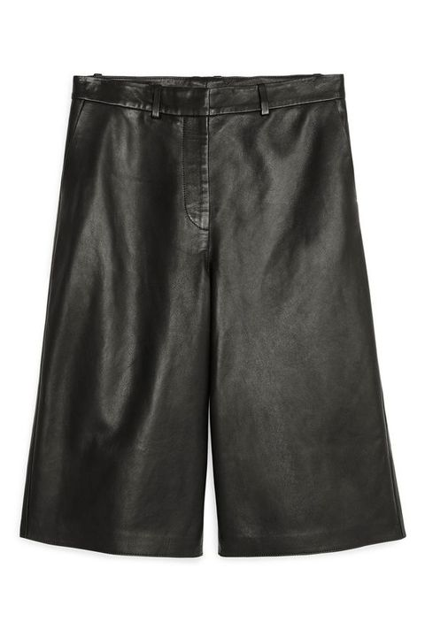 leather fashion - arket leather culottes bermuda shorts