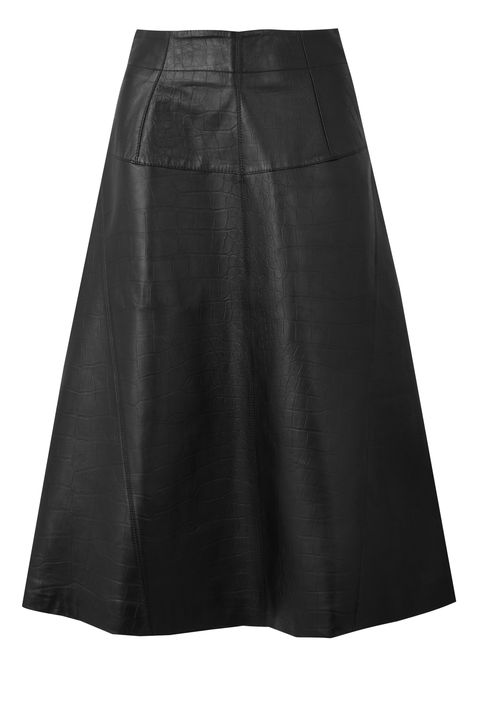 leather fashion - marks and spencer a line midi skirt croc
