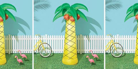 Leaf, Inflatable, Yellow, Games, Tree, Font, Plant, Woody plant, Palm tree, Feather,