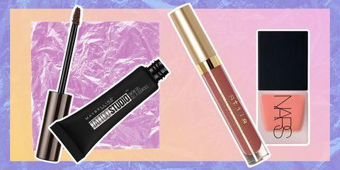Pink, Cosmetics, Beauty, Lip gloss, Eye liner, Mascara, Eye, Material property, Tints and shades, Gloss,