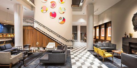 Interior design, Building, Room, Lobby, Property, Wall, Floor, Furniture, Restaurant, Architecture,
