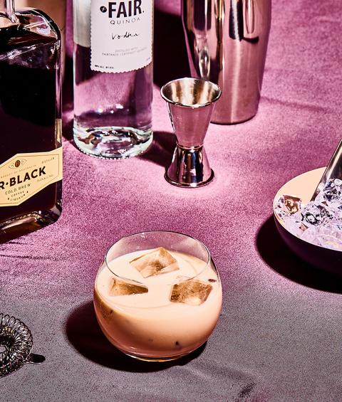 mudslide cocktail with coffee liqueur, vodka and irish cream liqueur