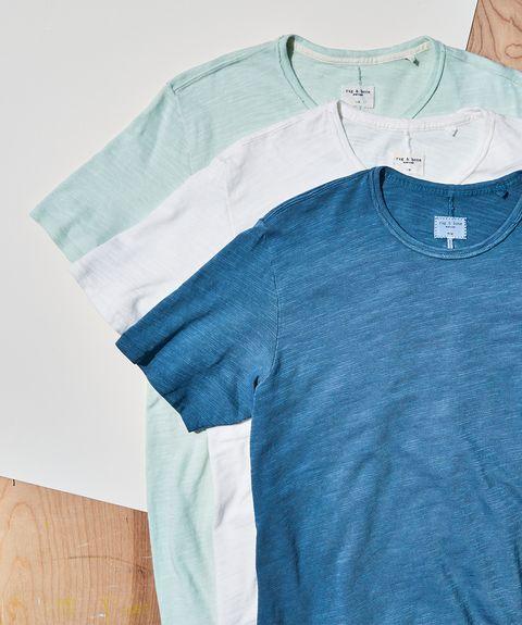 Clothing, Blue, T-shirt, Aqua, White, Turquoise, Sleeve, Product, Teal, Azure,