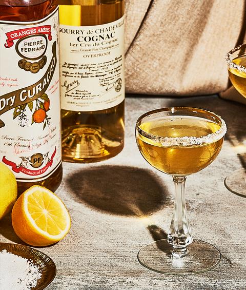 sidecar cocktail with cognac, orange liqueur, lemon juice and lime juice