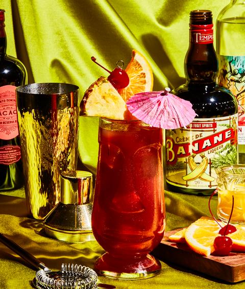rum runner cocktail with rum, banana liqueur, blackberry liqueur, orange juice and pineapple juice