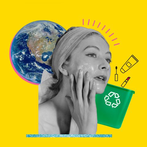 collage of woman applying face cream, earth, and recyclable products