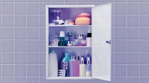 Shelf, Bathroom cabinet, Purple, Shelving, Bathroom, Product, Violet, Bathroom accessory, Tile, Wall,