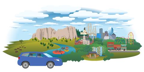 Human settlement, Mode of transport, Transport, Illustration, Vehicle, Compact car, Art, Car, City, Family car,