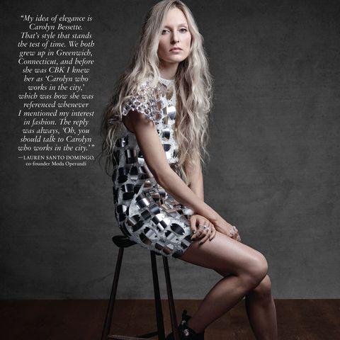 Fashion model, Clothing, Sitting, Photo shoot, Beauty, Leg, Fashion, Long hair, Dress, Photography,