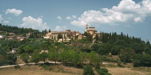 Natural landscape, Sky, Village, Hill, Hill station, Architecture, Rural area, Building, Mountain village, Tree,