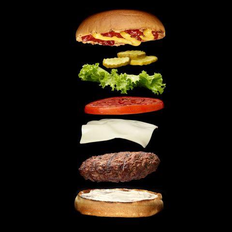 Hamburger, Cheeseburger, Patty, Veggie burger, Food, Fast food, Whopper, Sandwich, Mushroom, Burger king premium burgers,