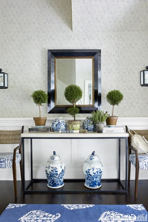 Blue, White, Furniture, Room, Table, Blue and white porcelain, Porcelain, Interior design, Living room, Coffee table,