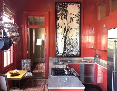 Маленькая красная кухня - 110 фото, дизайн | 372x480