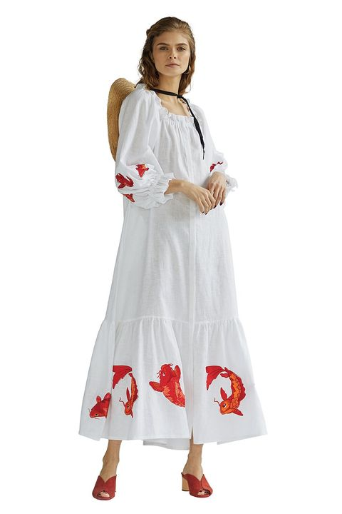 White, Clothing, Dress, Costume, Day dress, Gown, Embroidery, Sleeve,