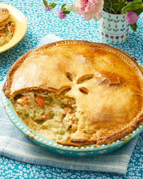leftover turkey pot pie in round dish