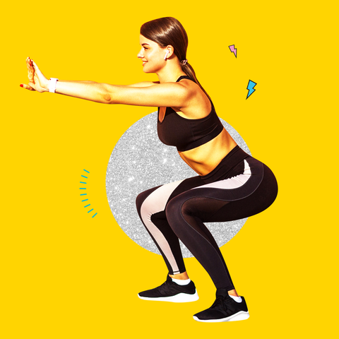 Yellow, Arm, Standing, Leg, Lunge, Physical fitness, Squat, Human leg, Thigh, Balance,