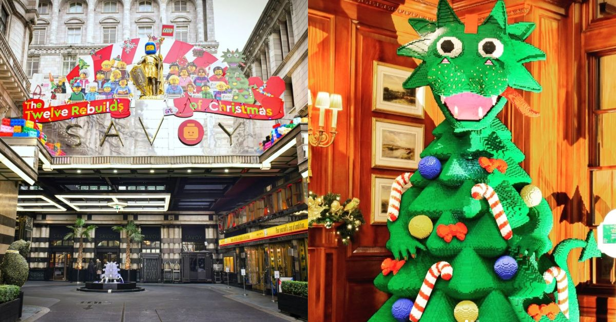 The Savoy Hotel In London Decorated For The Holidays With Legos