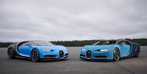 Lego Bugatti Chiron and real Bugatti Chiron