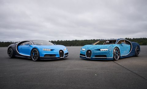Lego Bugatti Chiron And Real Car Driver