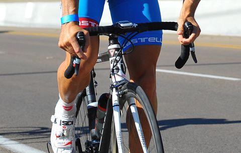 A cyclist's legs.