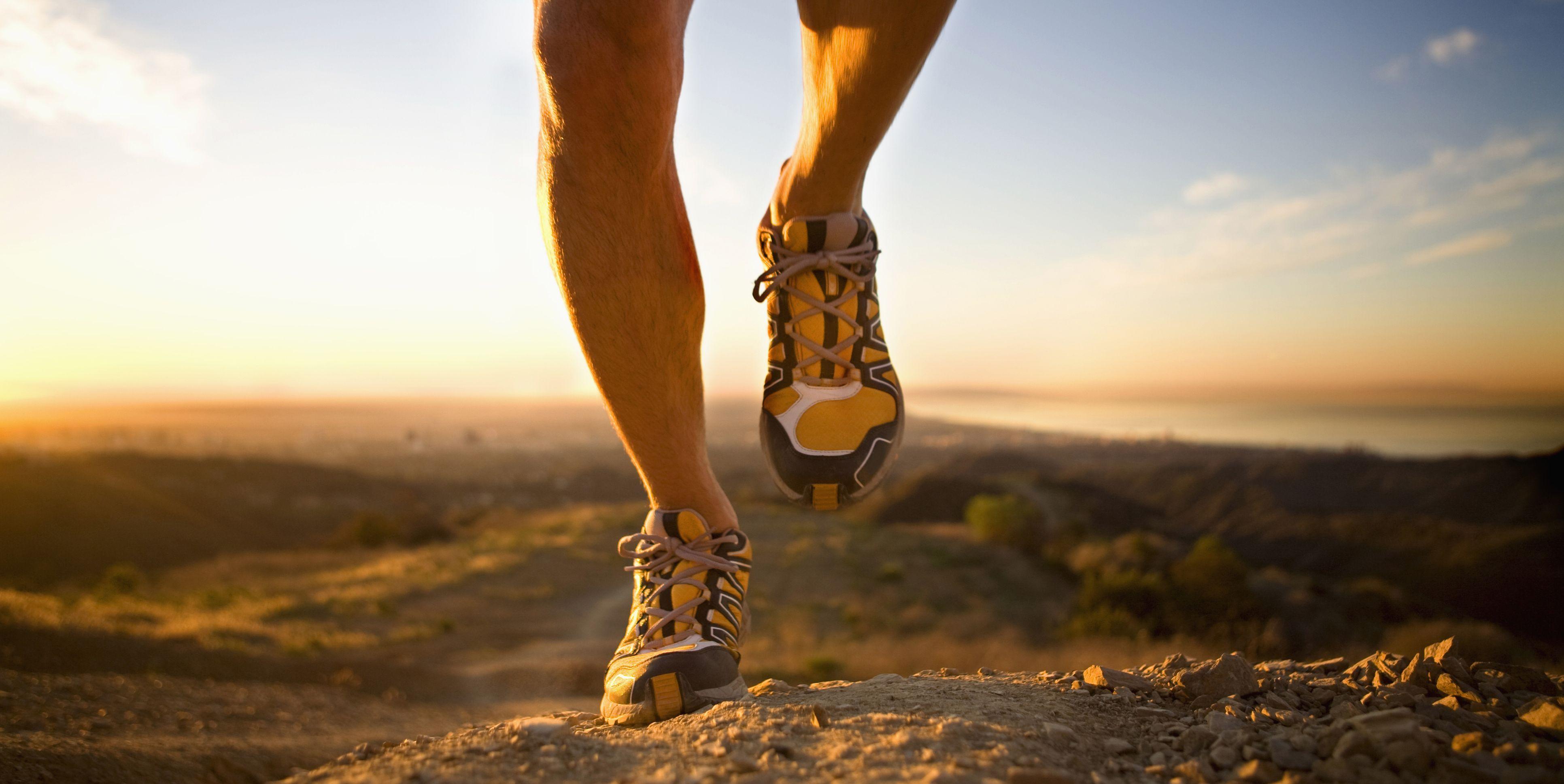 Legs running toward the camera