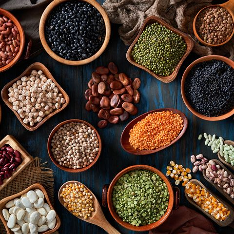 legumes and beans on a rustic wooden table