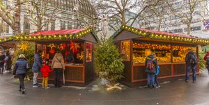 Christmas Market Stalls in Leicester Square, London
