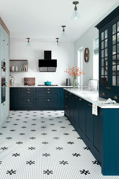 Dark navy blue kitchen with patterned floor