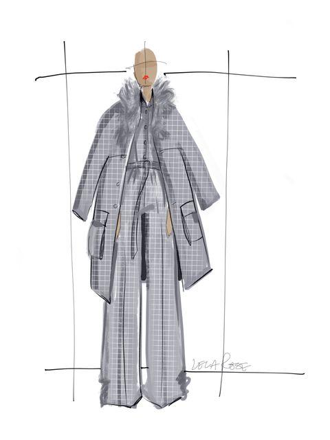 Clothing, Outerwear, Pattern, Standing, Costume design, Line, Design, Pattern, Fashion illustration, Illustration,