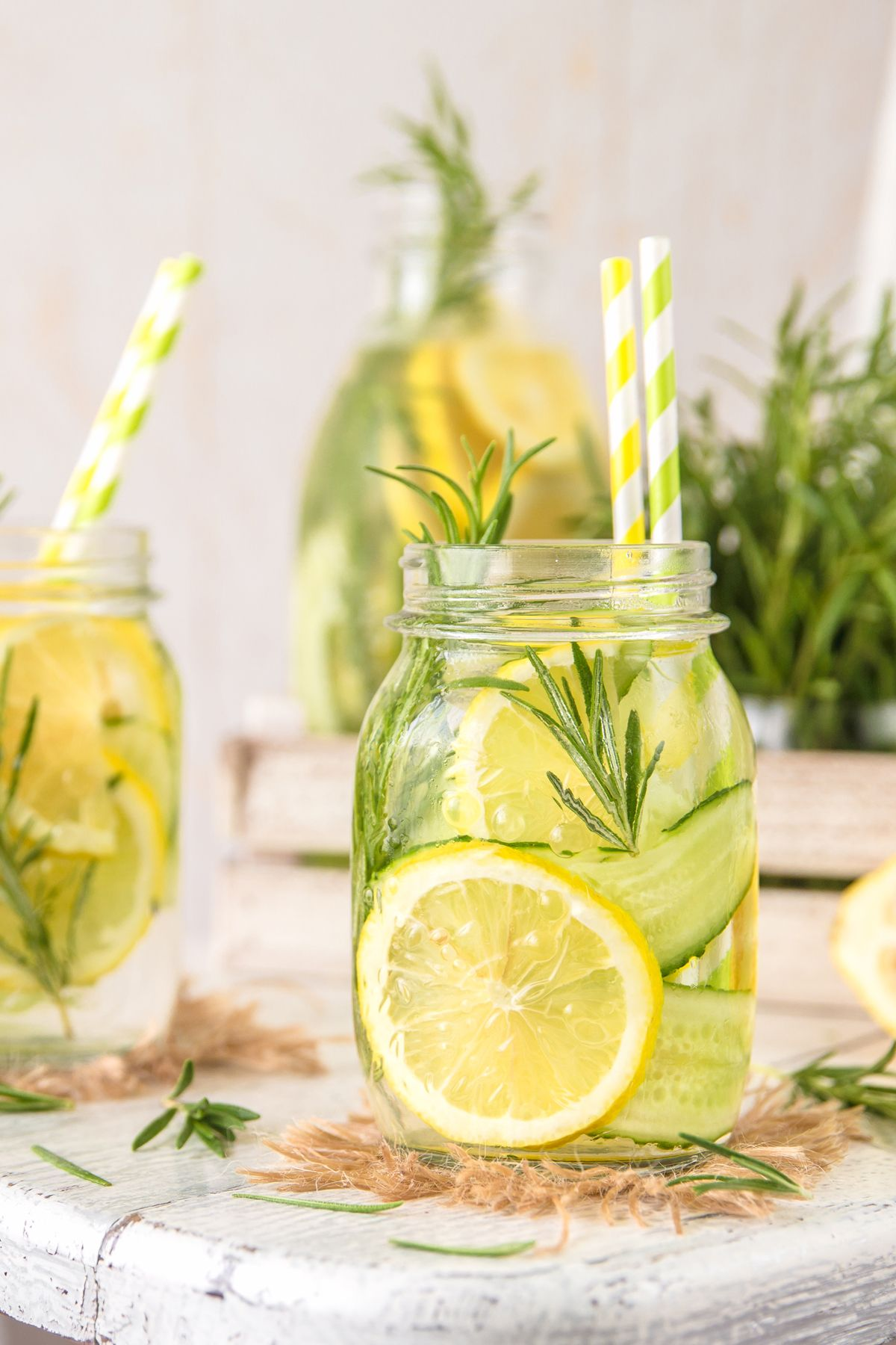 Infused Detox Water with with lemon, cucumber and rosemary
