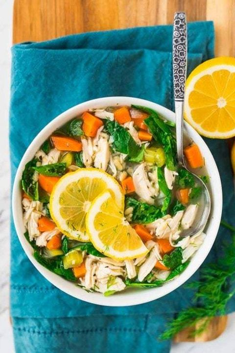 healthy slow-cooker soups: lemon chicken orzo soup