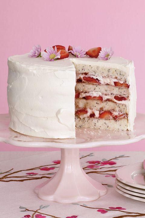 lemon poppy seed cake with strawberries- easter cakes