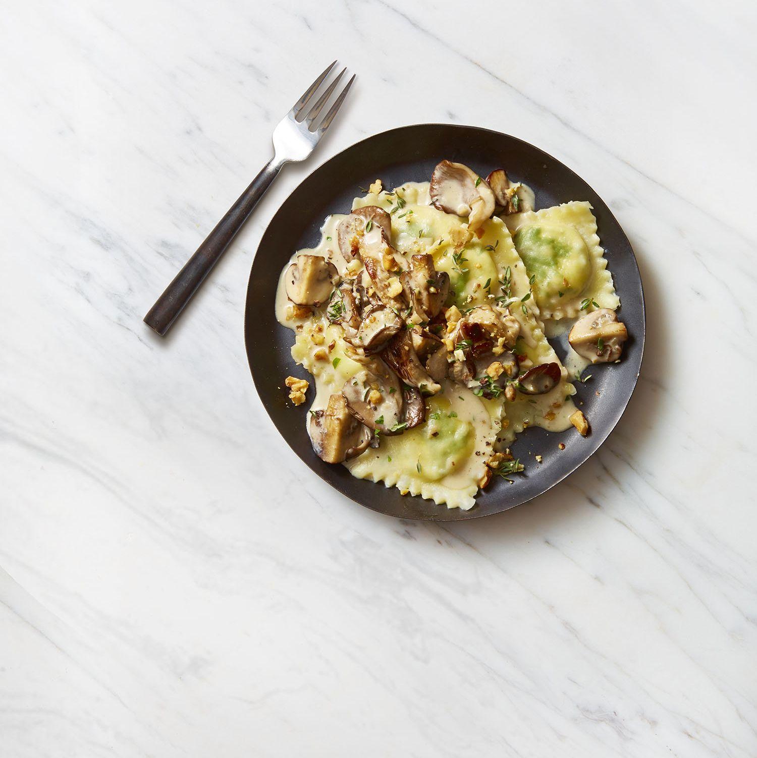 Lemon Ricotta Ravioli with Creamy Herbed Mushrooms