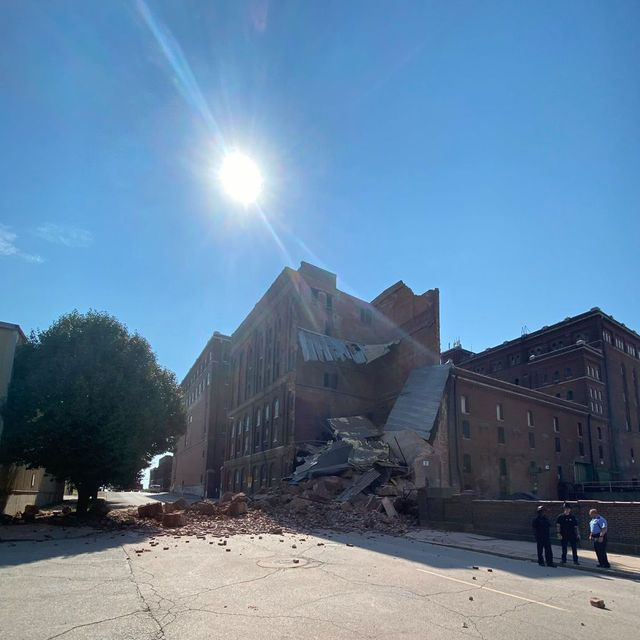 the outside of the collapsed lemp brewery building
