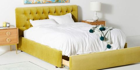 Bed, Furniture, Bedroom, Bed sheet, Mattress, Bed frame, Bedding, Yellow, Room, Product,