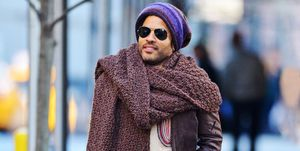 751fd51b8 Lenny Kravitz Wearing a Giant Denim Poncho' Is the 'New Lenny ...