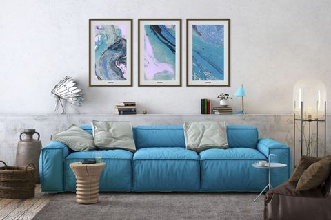 Furniture, Blue, Living room, Couch, Room, Turquoise, Interior design, Aqua, Wall, studio couch,