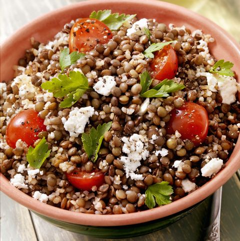 lentil and bulgur salad with feta and fresh spinach