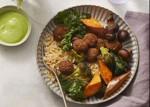 Lentil Broccoli Falafel Bowls