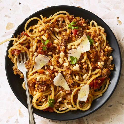 lentil bolognese spaghetti   good luck foods