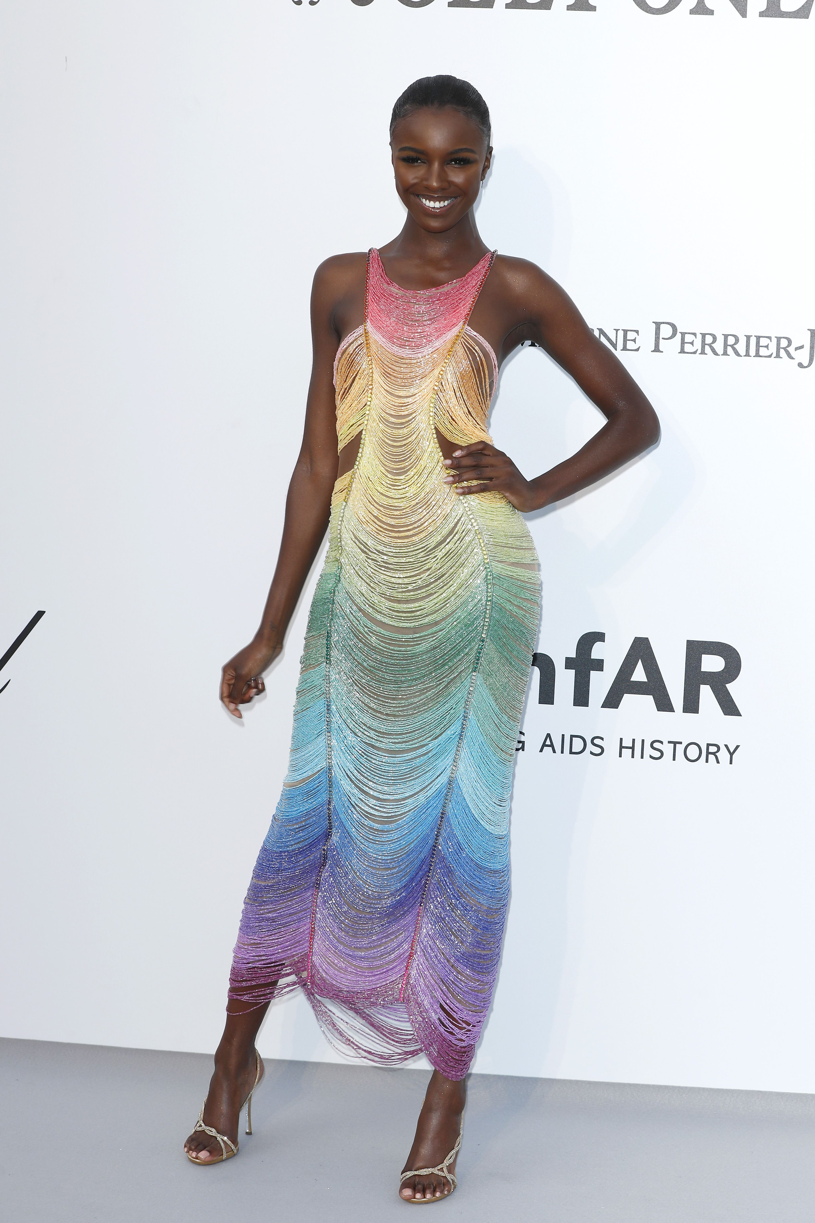 Leomie Anderson In a rainbow sleeveless dress.