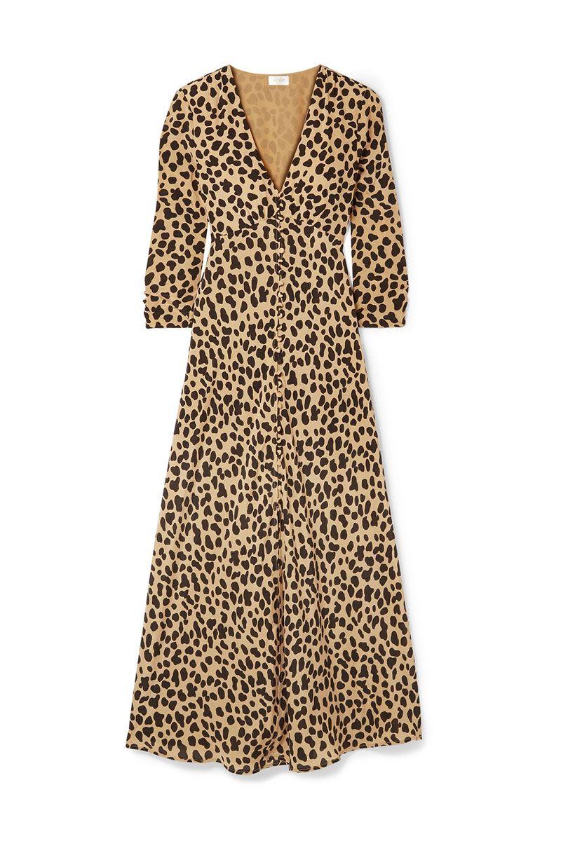 Rixo leopard print midi dress with slit