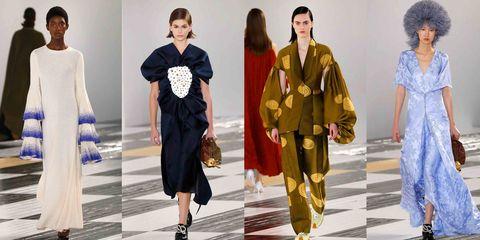 Fashion, Clothing, Fashion model, Runway, Fashion design, Yellow, Outerwear, Fashion show, Footwear, Haute couture,