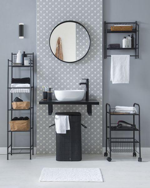 ambiente de baño actual con espejo redondo, de leroy merlin