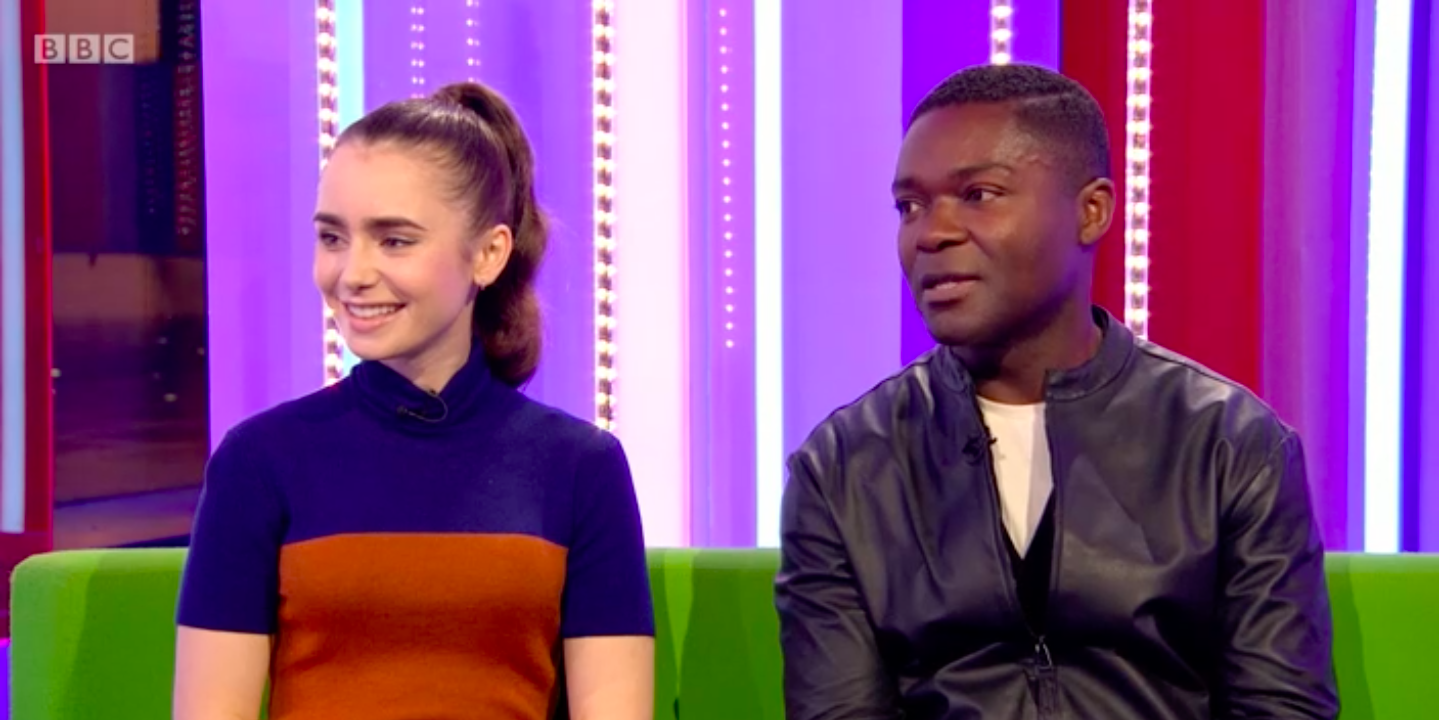 Lily Collins and David Oyelowo on The One Show screengrab