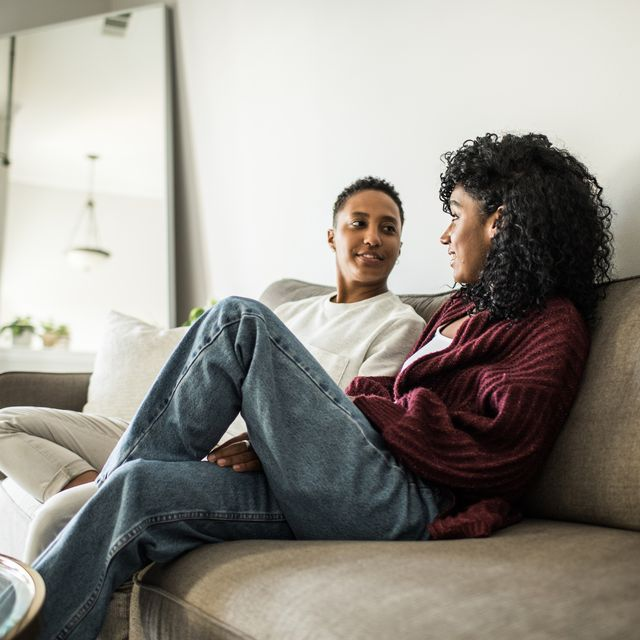 lesbian couple at home relaxing on couch