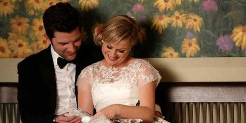 leslie knope, parks and recreation, wedding, married, married couple, couple, happy couple,