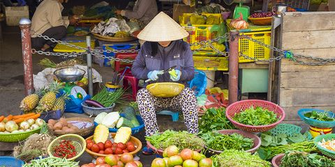Vietnam, Quang Nam Province, Hoi An, Woman selling vegetables at central market