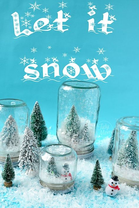 diy snow globes - waterless alpine globe