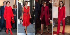 Hasta en 12 ocasiones, la Reina ha optado por el color rojo para sus apariciones públicas convirtiendo este color en su favorito.
